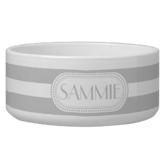 Lt Gray | White Stripes Pattern Monogram Bowl