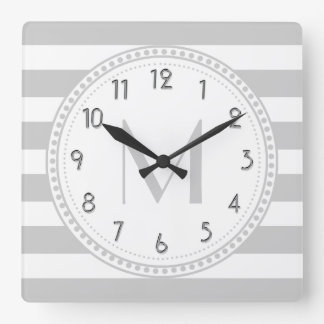 Lt Gray | White Stripes Pattern Monogram Square Wall Clock