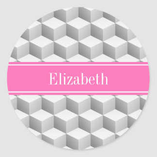 Lt Gray Wht 3D Look Cube HotPink #2 Name Monogram Classic Round Sticker