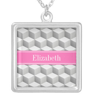 Lt Gray Wht 3D Look Cube HotPink #2 Name Monogram Square Pendant Necklace