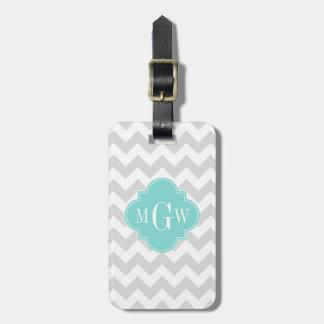 Lt Gray Wht Chevron Aqua Quatrefoil 3 Monogram Bag Tag