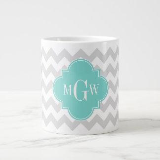 Lt Gray Wht Chevron Aqua Quatrefoil 3 Monogram 20 Oz Large Ceramic Coffee Mug
