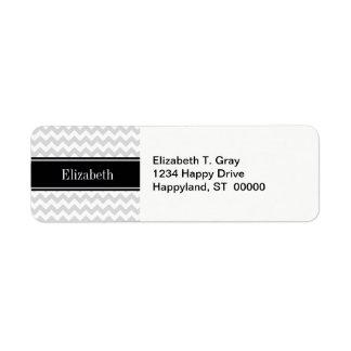 Lt Gray Wht Chevron Black Name Monogram Label