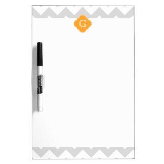 Lt Gray Wht Chevron Cantaloupe Quatrefoil Monogram Dry-Erase Whiteboard
