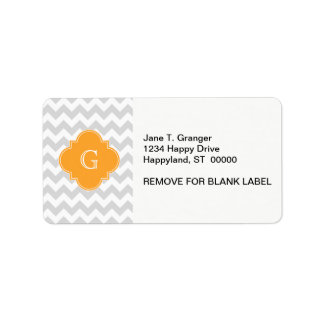 Lt Gray Wht Chevron Cantaloupe Quatrefoil Monogram Label