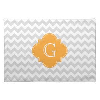 Lt Gray Wht Chevron Cantaloupe Quatrefoil Monogram Cloth Place Mat