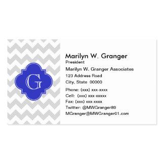 Lt Gray Wht Chevron Cobalt Quatrefoil Monogram Business Card Templates