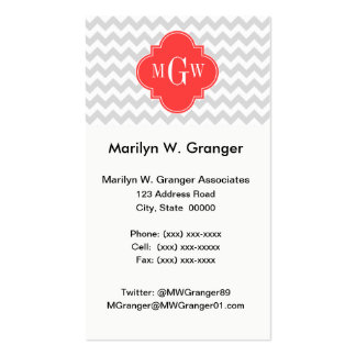 Lt Gray Wht Chevron Coral Quatrefoil 3 Monogram Double-Sided Standard Business Cards (Pack Of 100)