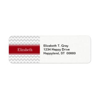 Lt Gray Wht Chevron Cranberry Name Monogram Return Address Label