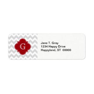 Lt Gray Wht Chevron Cranberry Quatrefoil Monogram Return Address Label