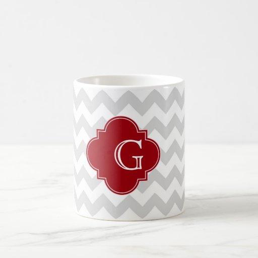 Lt Gray Wht Chevron Cranberry Quatrefoil Monogram Mugs
