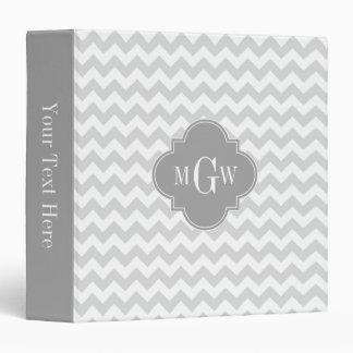 Lt Gray Wht Chevron Gray Quatrefoil 3 Monogram Vinyl Binder