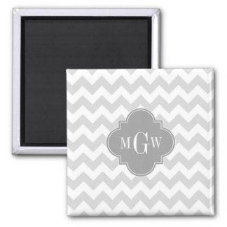Lt Gray Wht Chevron Gray Quatrefoil 3 Monogram 2 Inch Square Magnet