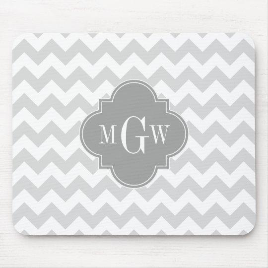 Lt Gray Wht Chevron Gray Quatrefoil 3 Monogram Mouse Pad