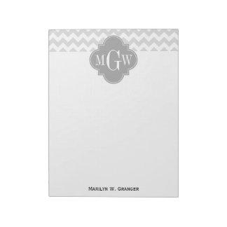 Lt Gray Wht Chevron Gray Quatrefoil 3 Monogram Memo Notepads