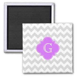 Lt Gray Wht Chevron Lilac Quatrefoil Monogram 2 Inch Square Magnet