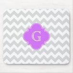 Lt Gray Wht Chevron Lilac Quatrefoil Monogram Mouse Pad