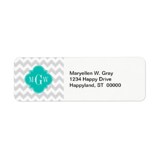 Lt Gray Wht Chevron Teal Quatrefoil 3 Monogram Label