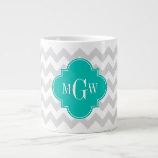 Lt Gray Wht Chevron Teal Quatrefoil 3 Monogram 20 Oz Large Ceramic Coffee Mug