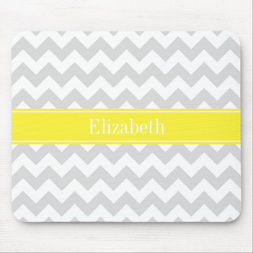 Lt Gray Wht Chevron Yellow Name Monogram Mouse Pads