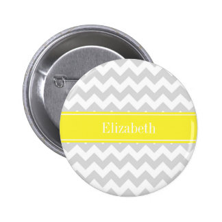 Lt Gray Wht Chevron Yellow Name Monogram Pinback Button