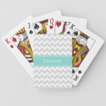 "Lt Gray Wht Chevron ZigZag Aqua Name Monogram Playing Cards<br><div class=""desc"">Light Gray and White Chevron ZigZag Pattern, Aqua Turquoise Ribbon Name Monogram Label Customize this with your name, monogram or other text. You can also change the font, adjust the fond size and color, move the text, etc. Need this pattern in other colors or designs? Just drop us an email...</div>"