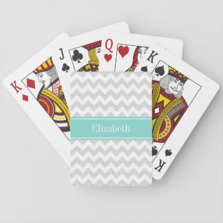 Lt Gray Wht Chevron ZigZag Aqua Name Monogram Playing Cards