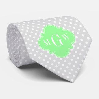 Lt Gray Wht Dots Mint Green Quatrefoil 3 Monogram Tie