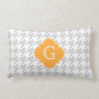 Lt Gray Wht Houndstooth Cantaloupe Monogram Label Pillow