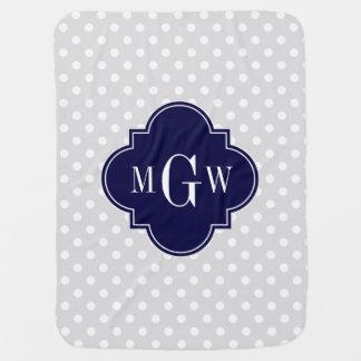 Lt Gray Wht Polka Dots Navy Quatrefoil 3 Monogram Swaddle Blankets