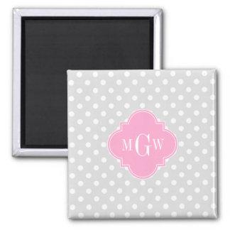Lt Gray Wht Polka Dots Pink Quatrefoil 3 Monogram 2 Inch Square Magnet