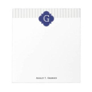 Lt Gray Wht Uneven Stripe Navy Quatrefoil Monogram Memo Note Pad