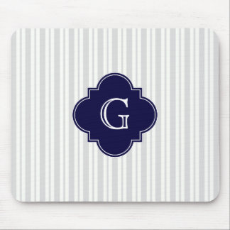 Lt Gray Wht Uneven Stripe Navy Quatrefoil Monogram Mouse Pad