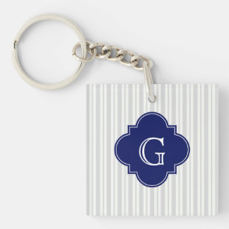 Lt Gray Wht Uneven Stripe Navy Quatrefoil Monogram Single-Sided Square Acrylic Keychain