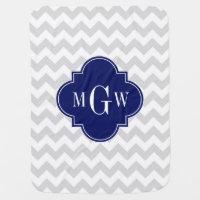Lt Gray Wt Chevron Navy Blue Quatrefoil 3 Monogram Baby Blanket