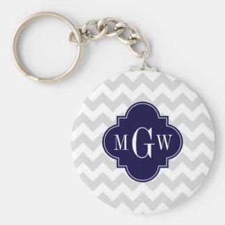 Lt Gray Wt Chevron Navy Blue Quatrefoil 3 Monogram Keychain