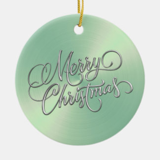 Lt Green Sheen and Silver Merry Christmas Ceramic Ornament
