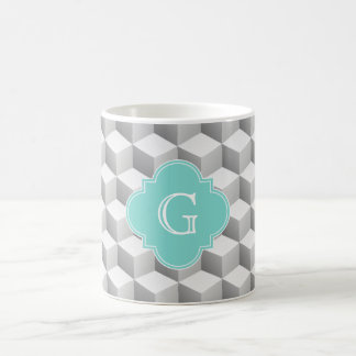 Lt Grey White 3D Look Cubes Aqua Monogram Coffee Mug
