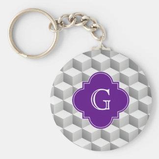 Lt Grey White 3D Look Cubes Purple Monogram Keychain