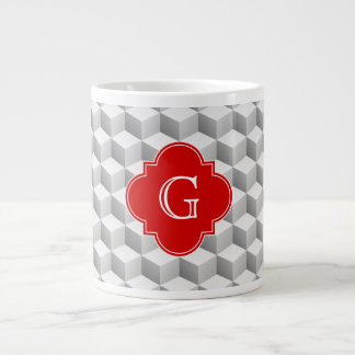Lt Grey White 3D Look Cubes Red Monogram Large Coffee Mug