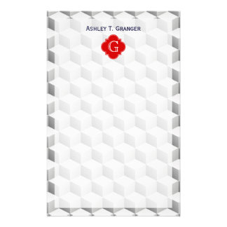 Lt Grey White 3D Look Cubes Red Monogram Stationery