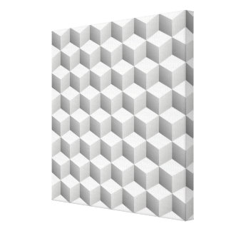 Lt Grey White Shaded 3D Look Cubes Canvas Print