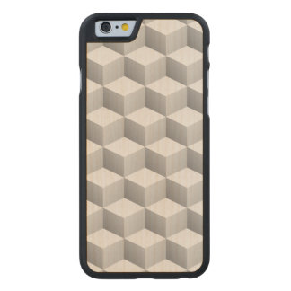 Lt Grey White Shaded 3D Look Cubes Carved Maple iPhone 6 Case