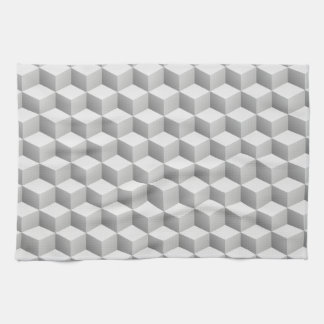 Lt Grey White Shaded 3D Look Cubes Kitchen Towel
