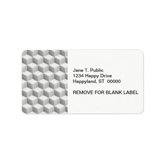 Lt Grey White Shaded 3D Look Cubes Label