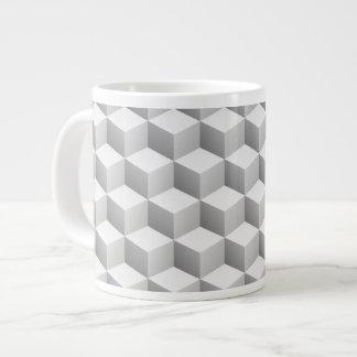 Lt Grey White Shaded 3D Look Cubes Extra Large Mug