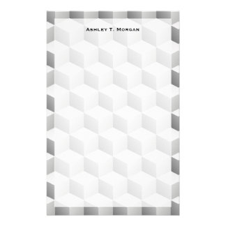 Lt Grey White Shaded 3D Look Cubes Stationery