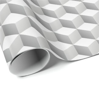 Lt Grey White Shaded 3D Look Cubes Wrapping Paper