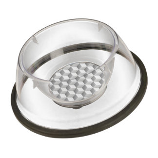 Lt Grey White Shaded 3D Look Cubes Pet Bowl