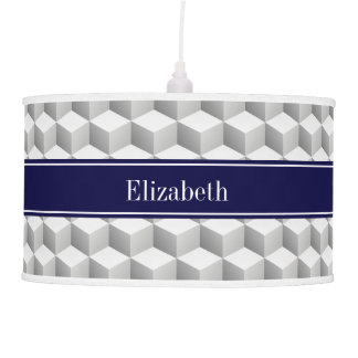 Lt Grey Wht 3D Look Cubes Navy Blue Name Monogram Hanging Lamps